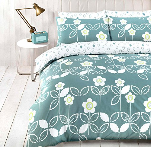 coton modus scandi floral teal bedruckt poly cotton quilt bettbezug bettwsche set mit passenden. Black Bedroom Furniture Sets. Home Design Ideas