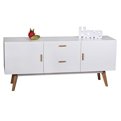 design kommode retro holz wei 160 x 42 x 70 cm sideboard skandinavisch mit 2 t ren und 2. Black Bedroom Furniture Sets. Home Design Ideas
