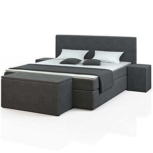 designer boxspringbett 140x200 180x200 doppelbett polsterbett bett hotelbett wahlweise mit. Black Bedroom Furniture Sets. Home Design Ideas