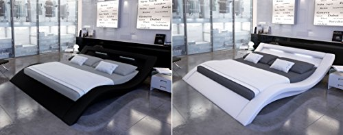 designer leder bett polsterbett mit led beleuchtung lederbett weiss oder schwarz wellenf rmig. Black Bedroom Furniture Sets. Home Design Ideas