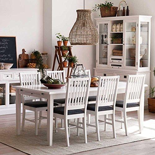 esstischgruppe im skandinavischen landhausstil wei birke massiv 7 teilig breite 200 cm ohne. Black Bedroom Furniture Sets. Home Design Ideas