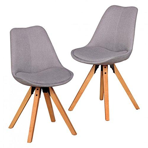 finebuy 2er set retro esszimmerstuhl ohne armlehne in stoff bezug hellgrau kchenstuhl mit lehne. Black Bedroom Furniture Sets. Home Design Ideas