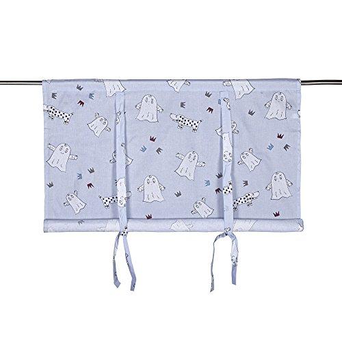 kinder scheibengardine raff gardine raffrollo vorhang laban 140 x 100 cm bxh blau mit geist hund. Black Bedroom Furniture Sets. Home Design Ideas