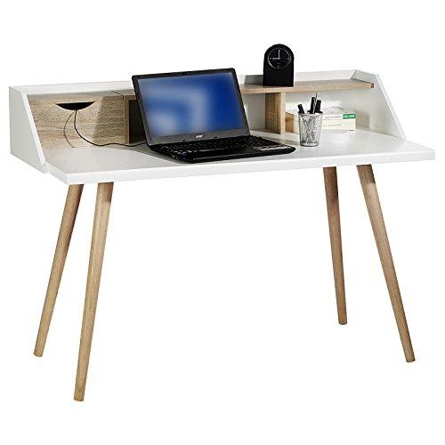 Konsolentisch JOAN Sekretär Schreibtisch Konsole, aus robuster Spanplatte in Sonoma Eiche und weiß, mit 1 Schublade für Kabel