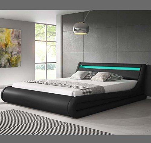 muebles bonitos luxus designer led polsterbett mit bettkasten schwarz 140x190 skandinavische. Black Bedroom Furniture Sets. Home Design Ideas