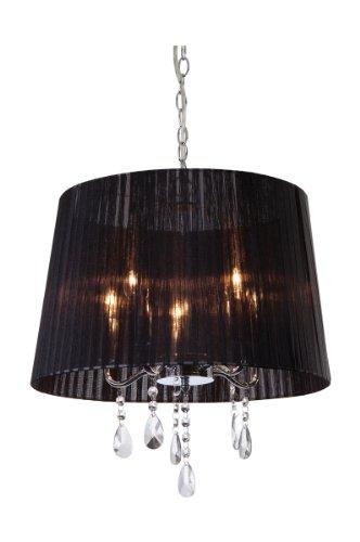 pendelleuchte 5 flammig organza farbe schirm schwarz skandinavische m bel. Black Bedroom Furniture Sets. Home Design Ideas