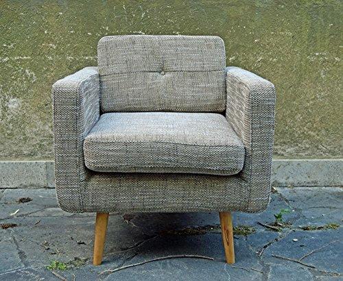Retro sessel york 1 sitzer stoff beige skandinavische m bel for Sessel beige stoff