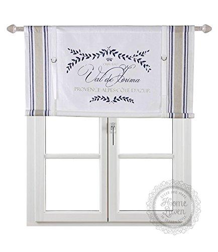 scheibengardine raff gardine raffrollo vorhang 39 provence 39 100 x 90 cm bxh wei blau beige mit. Black Bedroom Furniture Sets. Home Design Ideas