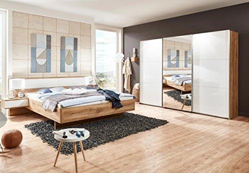 Schlafzimmer-Set, Komplettset, Plankeneiche-Nachbildung, Bett,  Schwebetürenschrank, Hochglanz Lack weiß,...