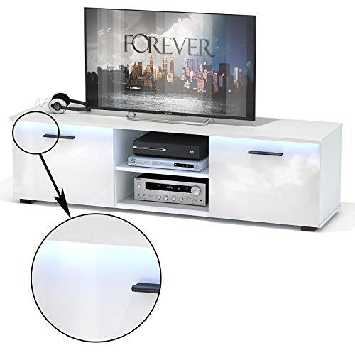 tv lowboard bank malibu in hochglanz wei mit led beleuchtung 150 cm fernsehschrank. Black Bedroom Furniture Sets. Home Design Ideas
