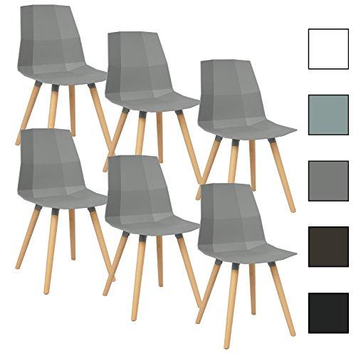 woltu bh63gr 6 6 x esszimmersthle 6er set esszimmersthle design stuhl kchenstuhl mit rckenlehne. Black Bedroom Furniture Sets. Home Design Ideas
