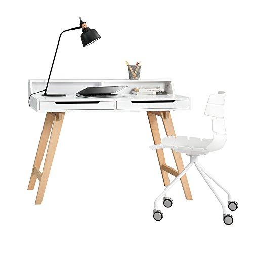 [en.casa]® Retro Schreibtisch + Stuhl nach Wahl