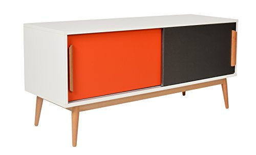 ts ideen sideboard kommode lowboard ablage tv bank weiss orange grau 120 x 55 cm. Black Bedroom Furniture Sets. Home Design Ideas