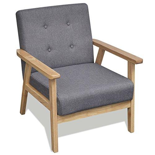 Vidaxl retro holz lehnstuhl relaxsessel esszimmer stuhl for Sessel stuhl grau