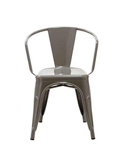 1x esszimmerstuhl stuhl in grau aus metall eisen k chenstuhl stapelbar robust zeitlos. Black Bedroom Furniture Sets. Home Design Ideas