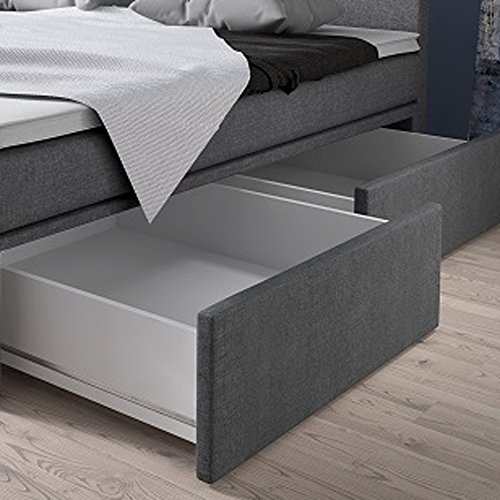 boxspringbett 140x200 mit bettkasten grau stoff hotelbett polsterbett matratze modell roma 140. Black Bedroom Furniture Sets. Home Design Ideas