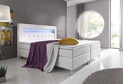 boxspringbett 160x200 grau mit topper led beleuchtung hotelbett topper polsterbett venedig. Black Bedroom Furniture Sets. Home Design Ideas