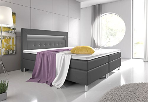 boxspringbett 160x200 grau mit topper led beleuchtung hotelbett topper polsterbett venedig. Black Bedroom Furniture Sets. Home Design Ideas