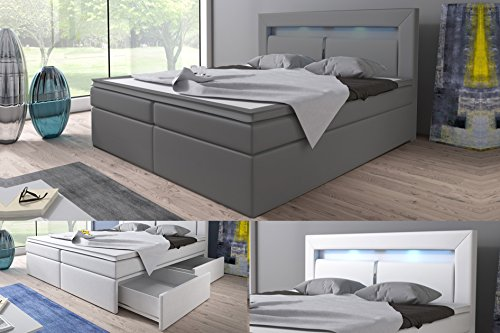 boxspringbett br ssel schublade bettkasten hotelbett 180 x 200 grau kunstleder. Black Bedroom Furniture Sets. Home Design Ideas