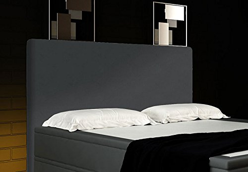 boxspringbett grau 160x200 inkl 2 bettkasten hotelbett bett led polsterbett rio lift. Black Bedroom Furniture Sets. Home Design Ideas
