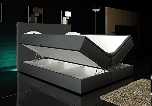 boxspringbett grau 160 200 inkl 2 bettkasten hotelbett bett led polsterbett rio lift. Black Bedroom Furniture Sets. Home Design Ideas
