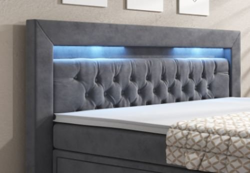boxspringbett york 180x200 bettkastenschublade weiss hotelbett farbe grau. Black Bedroom Furniture Sets. Home Design Ideas
