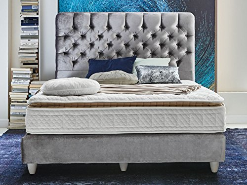 boxspringbett mit 7 zonen taschenfederkern samt stoff silber grau vegas ehebett polsterbett. Black Bedroom Furniture Sets. Home Design Ideas