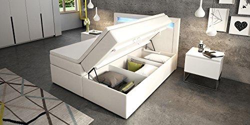 boxspringbett mit bettkasten wei sofia2 led beleuchtung doppelbett hotelbett topper. Black Bedroom Furniture Sets. Home Design Ideas