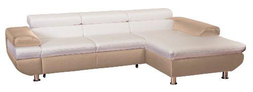 Cavadore 5011 Polsterecke Caponelle, 3-er Bett mit Kopfteilverstellung, Longchair, 279 x 72 - 88 x 177 cm, Kunstleder Bison, pure weiß / taupe