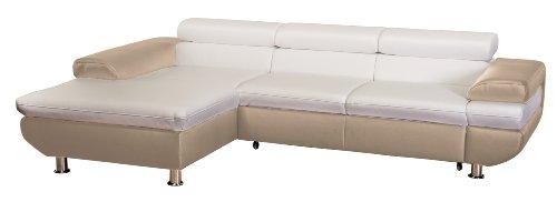 Cavadore 5011 Polsterecke Caponelle Longchair mit Kopfteilverstellung, 3-er Bett mit Kopfteilverstellung, 279 x 72 - 88 x 177 cm, Kunstleder Bison, pure weiß / taupe