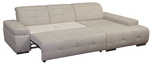 Cavadore 5036 Polsterecke Mistrel, 3-er Bett-Longchair XL, 273 x 77-93 x 173 cm, Kati grau-weiß