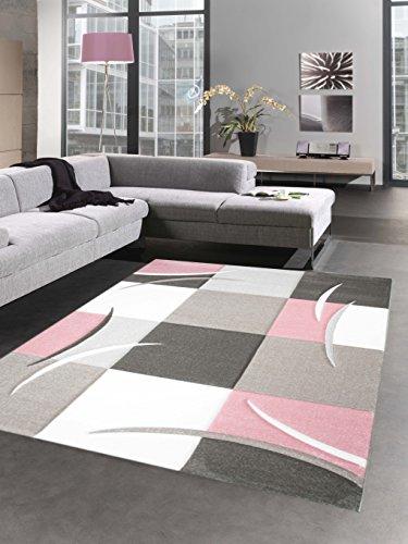 Designer Teppich Karo Pastell rosa creme braun Größe 120x170 cm