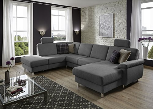 eckcouch winstono federkern sofa mit bettfunktion und verstellbarer rckenlehne longchair rechts. Black Bedroom Furniture Sets. Home Design Ideas