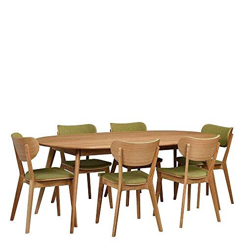 essgruppe mit ovalem tisch gr n eiche massiv 7 teilig pharao24 skandinavische m bel. Black Bedroom Furniture Sets. Home Design Ideas