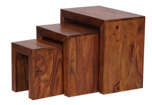 Finebuy 3er set satztisch massivholz sheesham wohnzimmer for Beistelltisch yoga 3er set sheesham massiv natur