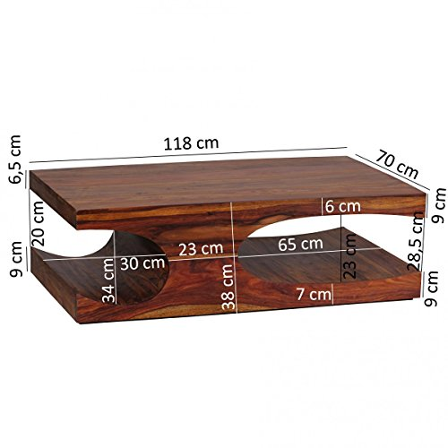finebuy couchtisch massiv holz sheesham 118 cm breit wohnzimmer tisch design dunkel braun. Black Bedroom Furniture Sets. Home Design Ideas