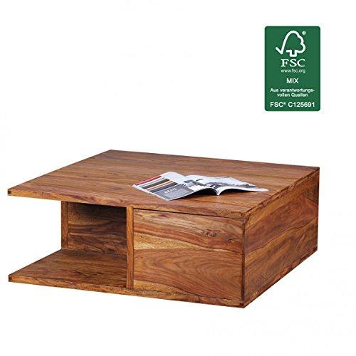 finebuy couchtisch massiv holz sheesham 88 cm breit wohnzimmer tisch design dunkel braun. Black Bedroom Furniture Sets. Home Design Ideas