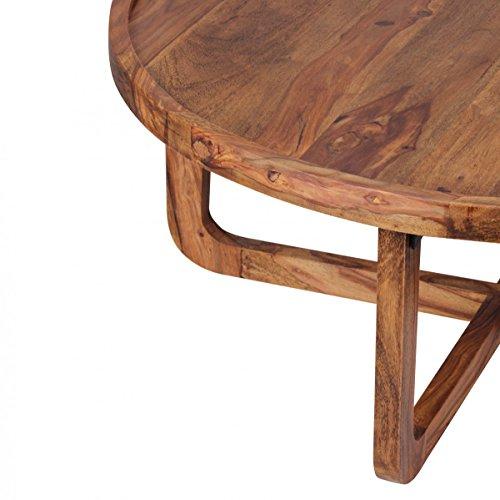 Finebuy couchtisch massiv holz sheesham rund 85 cm for Tisch dunkel