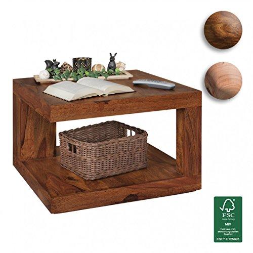 finebuy couchtisch massivholz sheesham palisander design wohnzimmertisch 58 x 58 x 40 cm. Black Bedroom Furniture Sets. Home Design Ideas