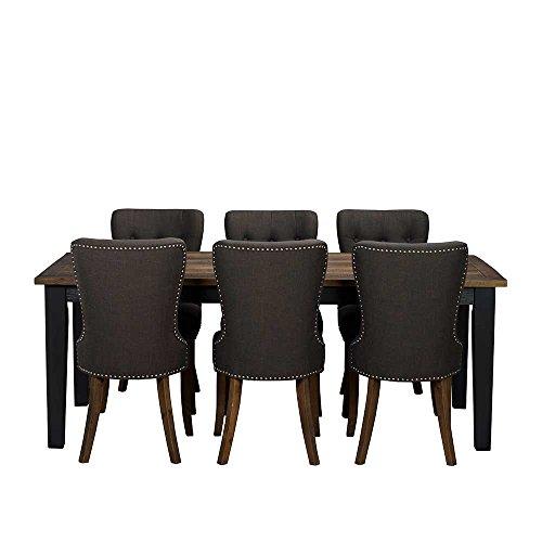 landhaus essgruppe in braun dunkelgrau massiv 7 teilig. Black Bedroom Furniture Sets. Home Design Ideas