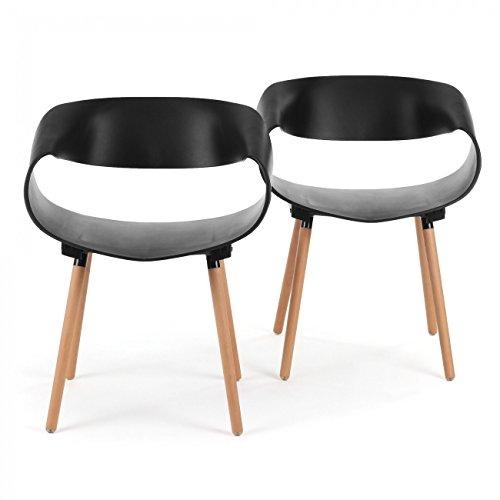 Makika Retro Stuhl Design Stuhl Esszimmerstühle Bürostuhl Wohnzimmerstühle Lounge Küchenstuhl Sitzgruppe 2er Set aus Kunststoff mit Rückenlehne MAYA in Schwarz