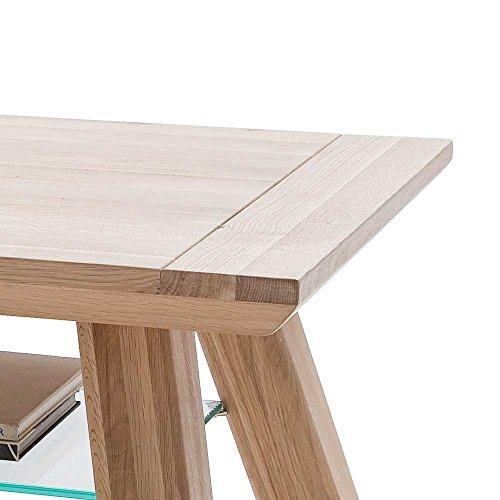 massivholz couchtisch aus eiche bianco glasablage pharao24 skandinavische m bel. Black Bedroom Furniture Sets. Home Design Ideas