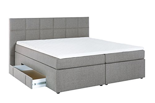 m belfreude boxspringbett andybur hell grau 200x200 cm h2 h3 inkl visco topper 7 zonen. Black Bedroom Furniture Sets. Home Design Ideas