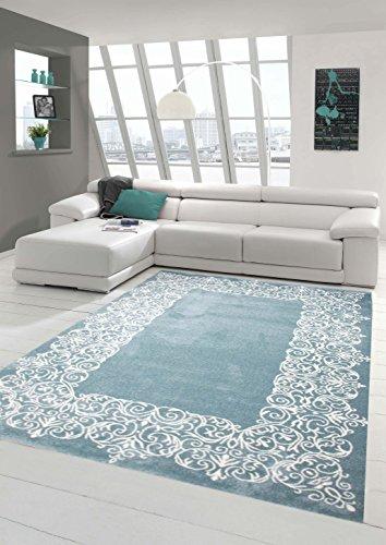 Teppich-Traum Designerteppich Moderner Teppich Wohnzimmerteppich Kurzflor Teppich mit Bordüre Türkis Weiß, Größe 80x150 cm