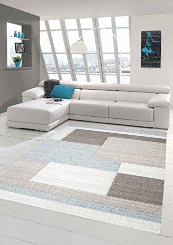 Teppich-Traum Designerteppich Moderner Teppich Wohnzimmerteppich Kurzflor Teppich mit Konturenschnitt Karo Muster Pastellfarben Grau Beige Blau, Größe 120x170 cm