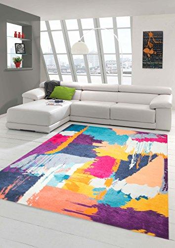 Teppich-Traum Designerteppich Moderner Teppich Wohnzimmerteppich Orientteppich Bunt in Lila Türkis Gelb, Größe 160x230 cm