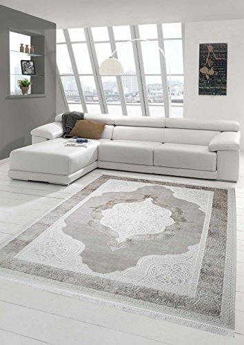 Teppich-Traum Designerteppich Moderner Teppich Wohnzimmerteppich Wollteppich mit Bordüre und Ornamente in Grau Beige Weiß, Größe 160x230 cm Oval