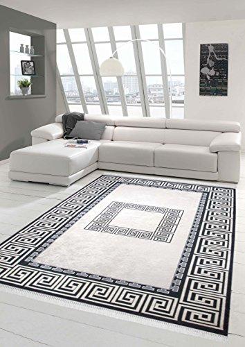 Teppich-Traum Designerteppich Moderner Teppich Wohnzimmerteppich mit Bordüre in Printtechnik in Schwarz Weiß Grau waschbar, Größe 80x300 cm