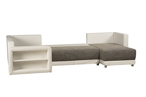 u couch mit schlaffunktion bettkasten regal in armlehne ottomane rechts oder links montierbar. Black Bedroom Furniture Sets. Home Design Ideas