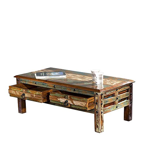 vintage couchtisch in bunt recyclingholz massiv pharao24. Black Bedroom Furniture Sets. Home Design Ideas